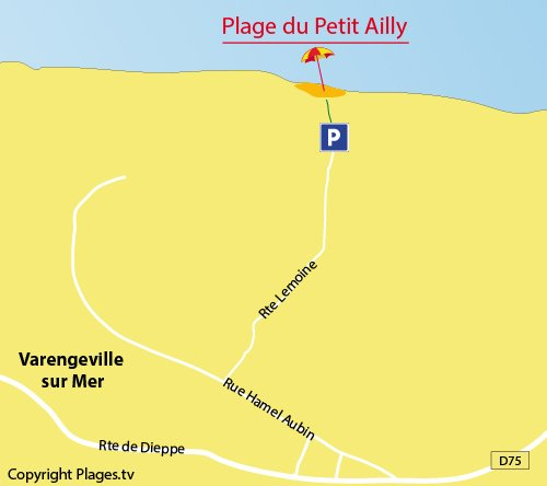 Map of Petit Ailly Beach in Varengeville