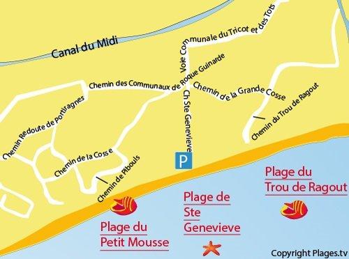 Carte de la plage du Petit Mousse à Vias