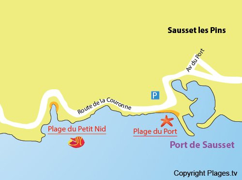 Map of Petit Nid Beach in Sausset les Pins