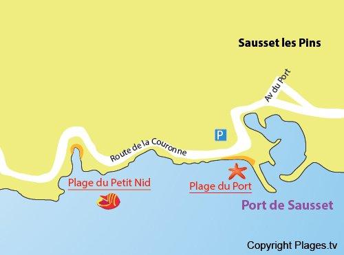 Plan de la plage du Petit Nid à Sausset les Pins