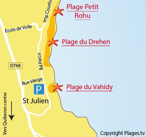 Map of Petit Rohu Beach in St Pierre de Quiberon