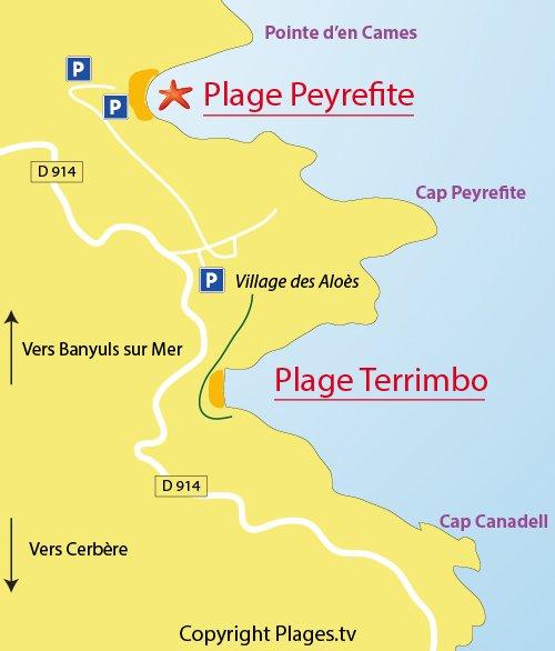 Carte de la plage de Peyrefite à Cerbère 66