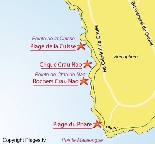 Map of Lighthouse Beach in St Jean Cap Ferrat