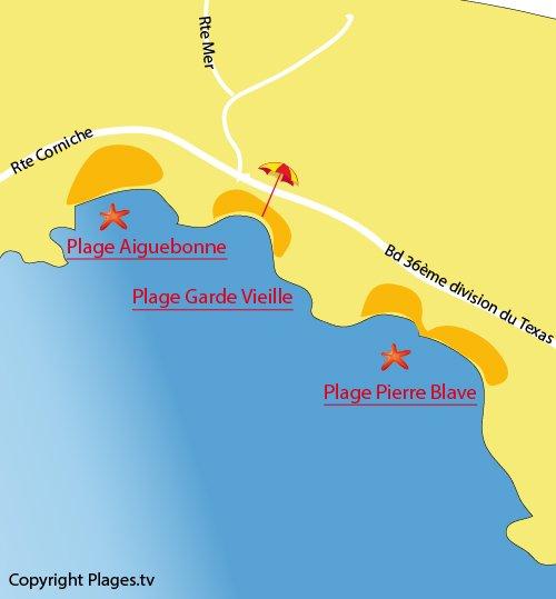 Carte de la plage Pierre Blave à St Raphaël