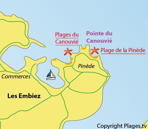 Map of Pinewood Beach in Embiez island