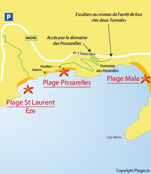 Map of Pissarelles Beach in Cap d'Ail