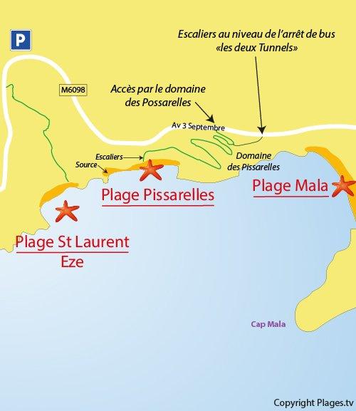 Mappa Spiaggia delle Pissarelles a Cap d'Ail - Francia