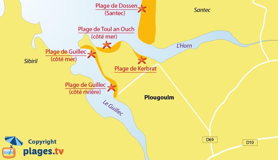 Plan des plages de Plougoulm en Bretagne