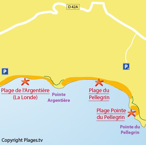 Map of the Pointe du Pellegrin beach in Bormes les Mimosas