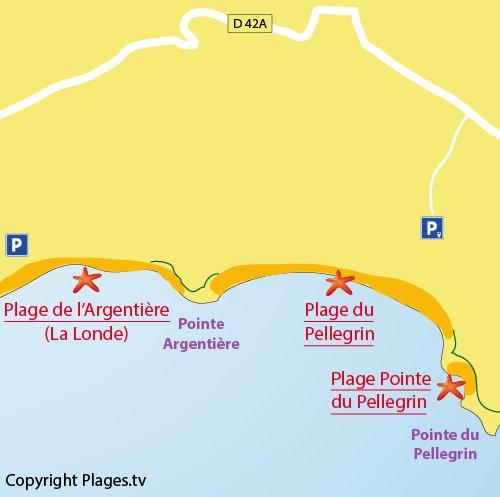 Plan de la plage au niveau de la Pointe du Pellegrin - Bormes les Mimosas (83)