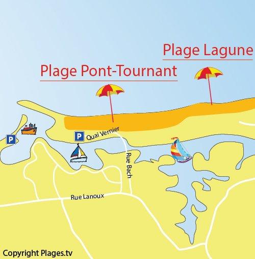 Carte de la plage du Port Tournant à St Cyprien