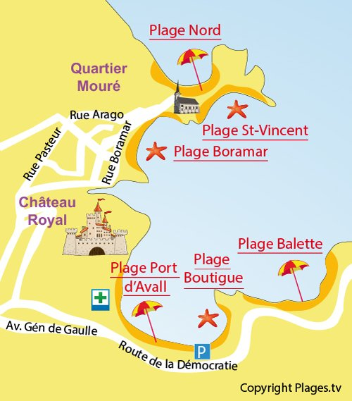 Carte de la plage de Port d'Avall à Collioure