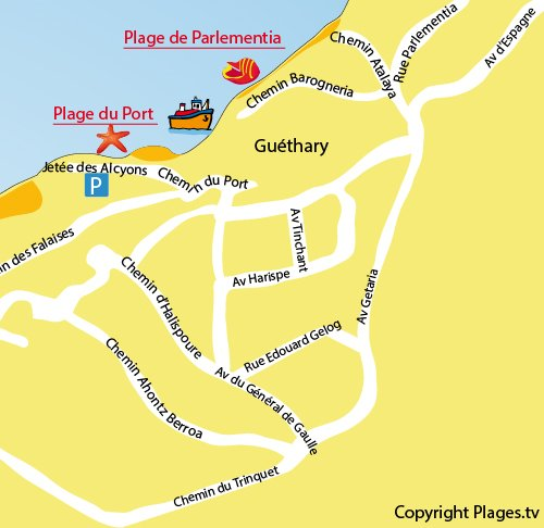 Map of Port Beach in Guéthary