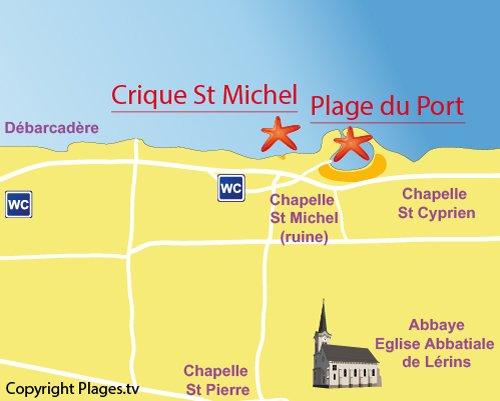 Map of Port beach in Saint-Honorat island - Ile de Lérins