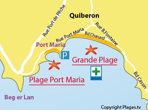 Carte de la plage de Port Maria à Quiberon