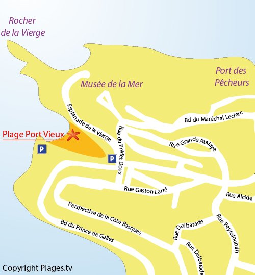 Map of Port Vieux Beach in Biarritz