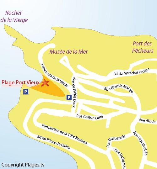 Map of Port Vieux Beach in Biarritz