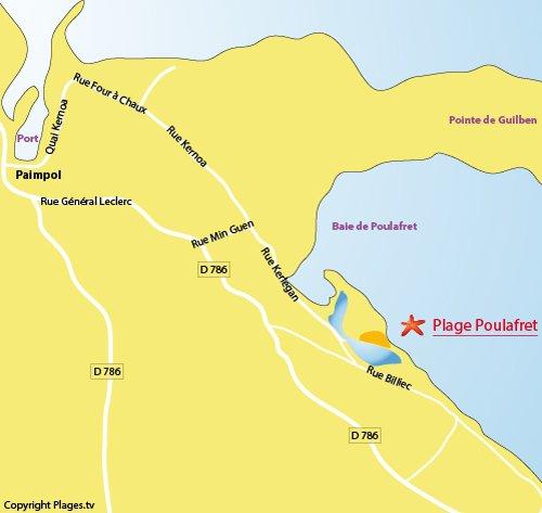 Plan de la plage du Poulafret à Paimpol