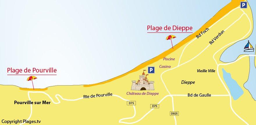 Plan des plages de Pourville sur Mer