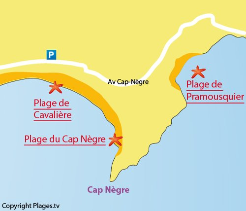 Map of the Pramousquier Beach in Lavandou in France