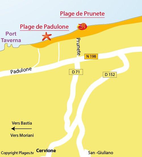 Map of Prunete Beach in Cervione - Corsica