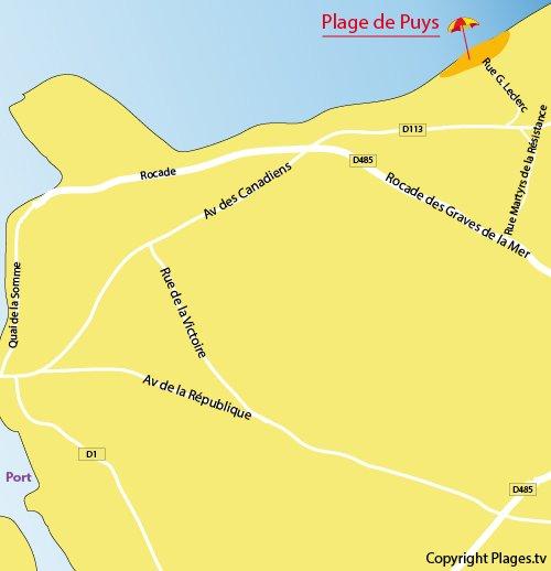 Plan de la plage de Puys à Dieppe