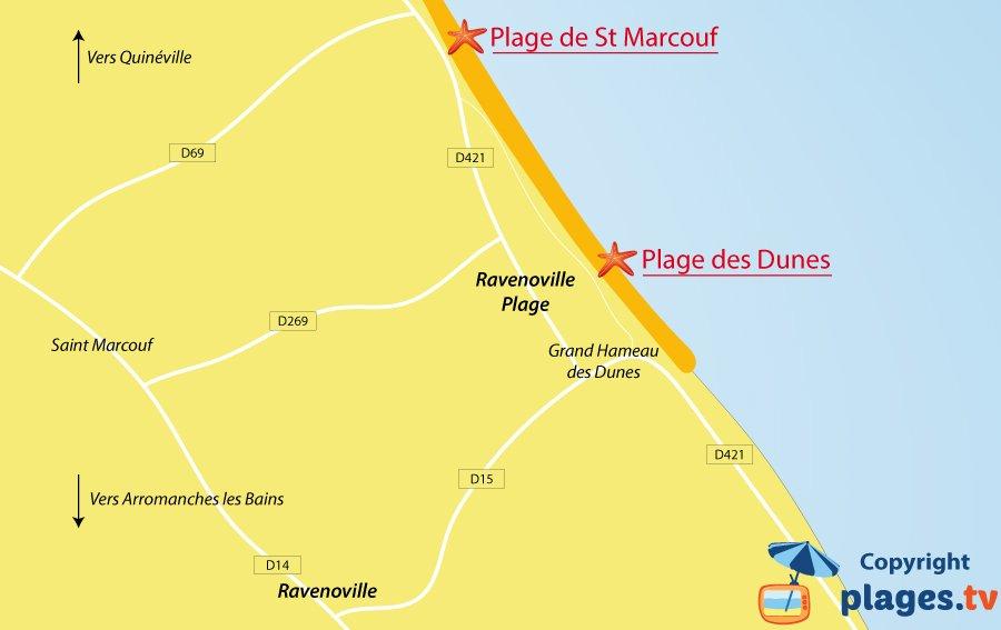 Plan des plages de Ravenoville dans la Manche