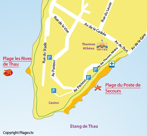 Carte de la plage des Rives de Thau à Balaruc les Bains