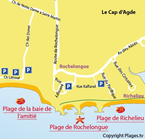 Map of the Rochelongue Beach in Cape d'Agde