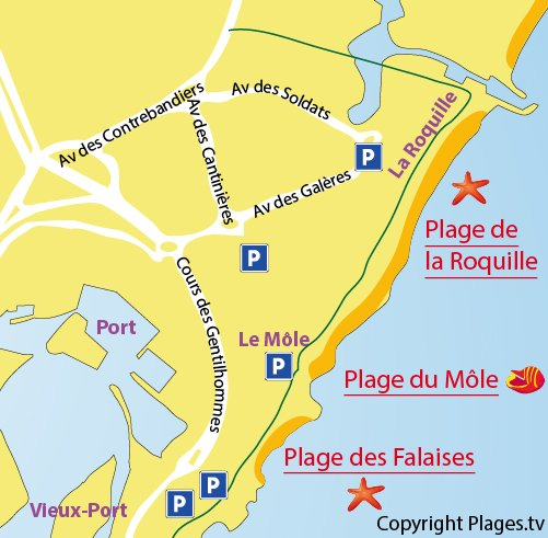 Map of the Roquille beach in Cape d'Agde