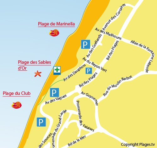 Map of Sables d'Or Beach in Anglet
