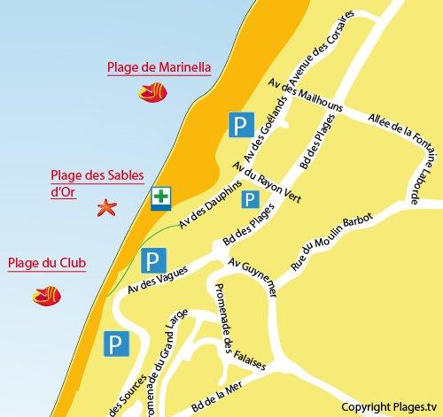 Plan de la plage des sables d'or à Anglet