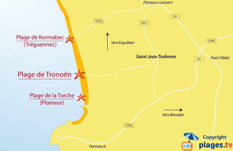 Plan des plages de Saint Jean Trolimon en Bretagne