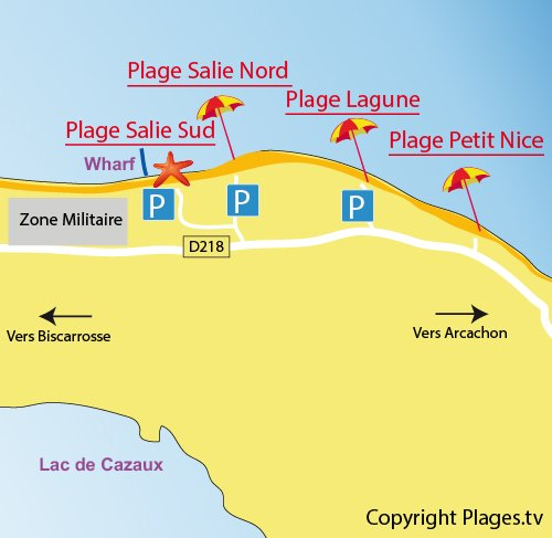 Map of Salie North Beach in Pyla sur Mer