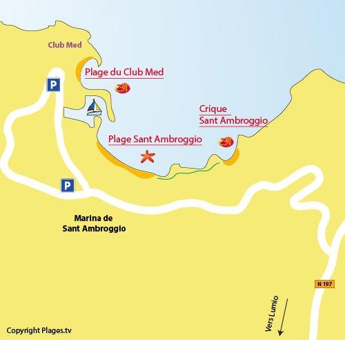 Plan de la plage de Sant Ambroggio en Corse