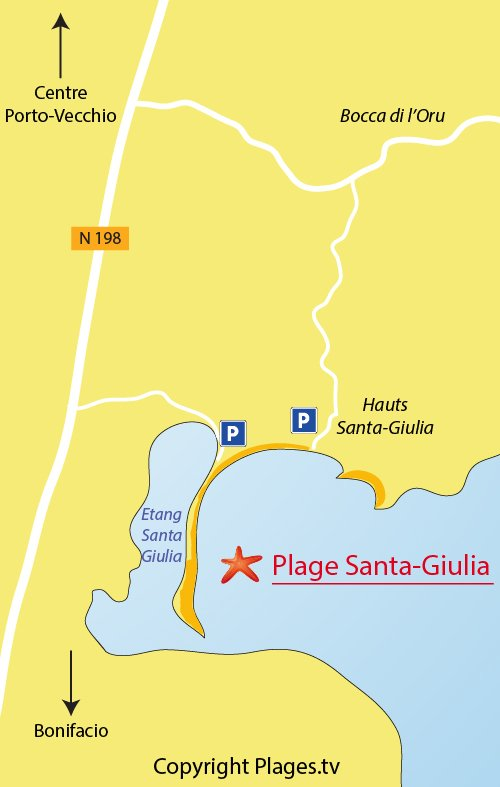 Map of the Santa Giulia beach in Porto Vecchio - Corsica