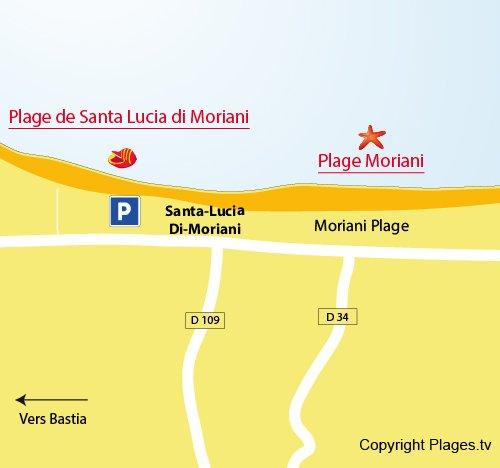 Plan de la plage de Santa Lucia di Moriani - Corse