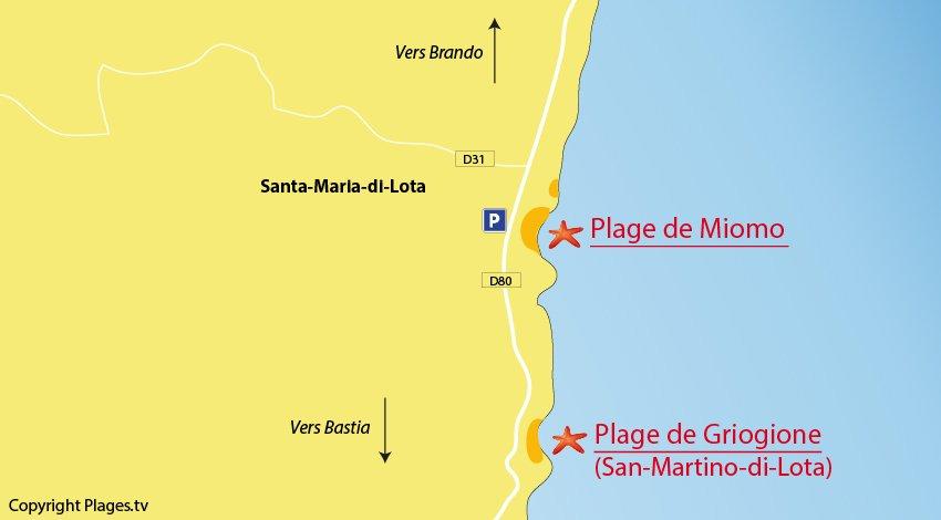 Plan des plages de Santa-Maria-di-Lota dans le Cap Corse