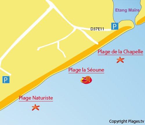 Carte de la plage la Séoune à Sérignan