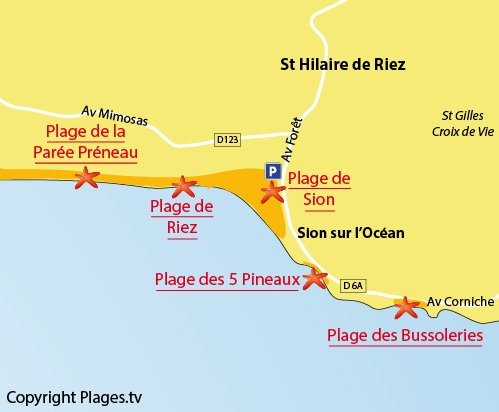 Map of Grande plage of Sion in St Hilaire de Riez