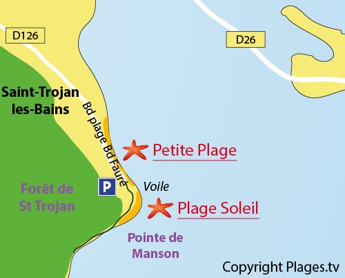 Plan de la plage du Soleil à St Trojan les Bains