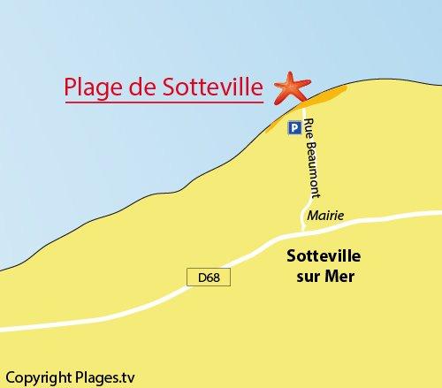 Plan de la plage de Sotteville sur Mer