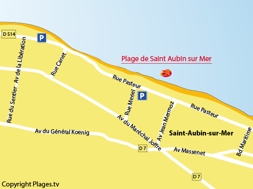 Map of the beach of St Aubin in Calvados - Normandy