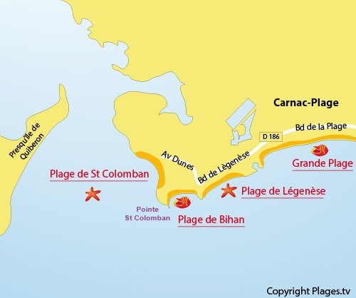 Map of Saint Colomban Beach in Carnac