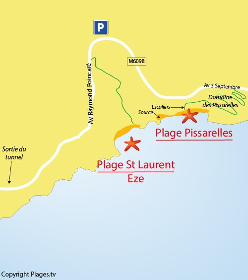 Map of St Laurent Beach in Eze