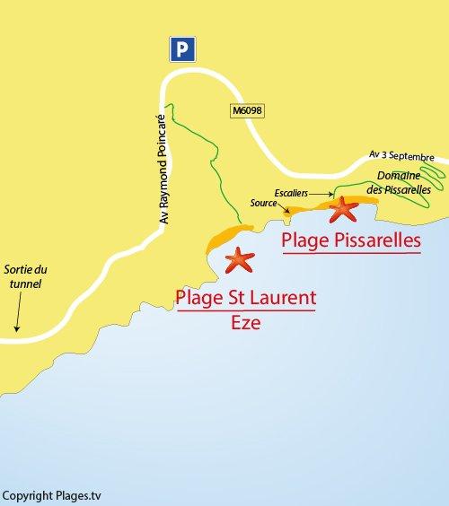 Mappa della spiaggia di St Laurent d'Eze