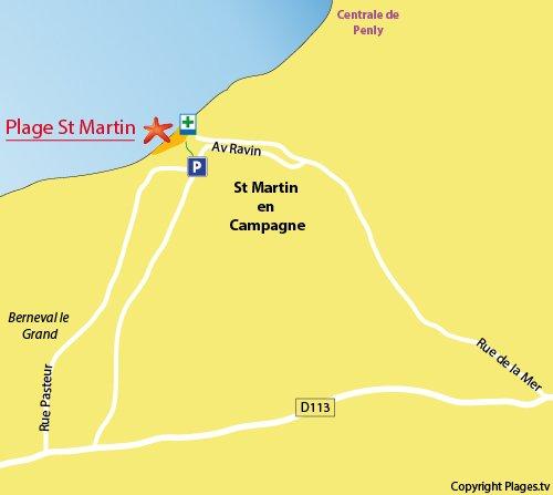 Plan de la plage de St Martin en Campagne