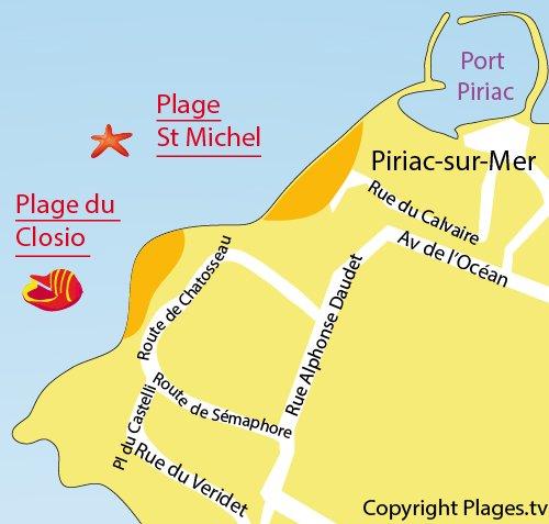 Map of Saint Michel beach in Piriac sur Mer