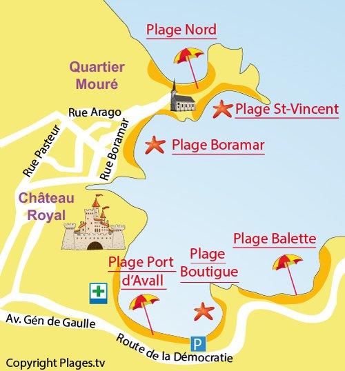 Mappa della Spiaggia Saint Vincent a Collioure