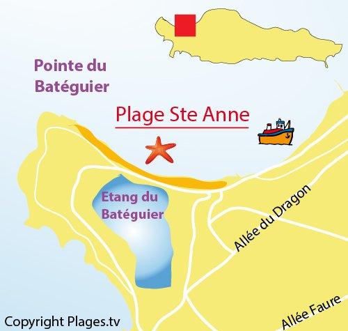 Plan de la plage de Ste Anne sur l'Ile de Lérins - Sainte Marguerite